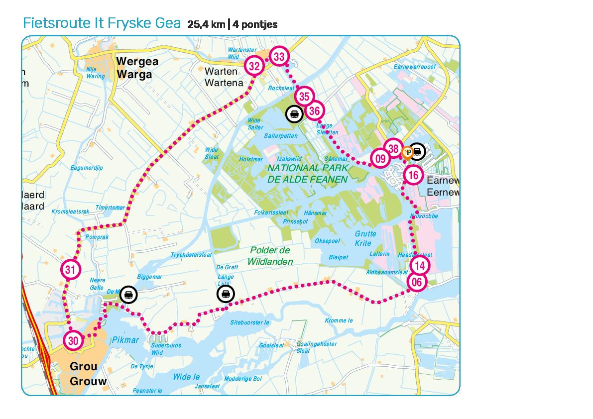 Fietsroute It Fryske Gea alde feanen